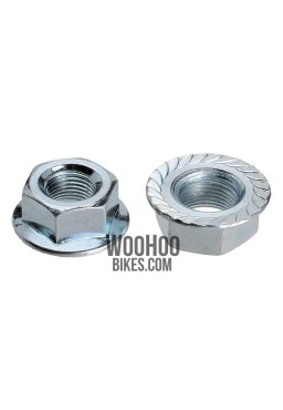 "Hub Axle Nut Chrome M10 with a flange 10mm, 3/8"" - 2 pieces"