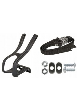 Road Bike, Moutain Bike, Pedal Toe Clips And Straps, Lightweight, Black