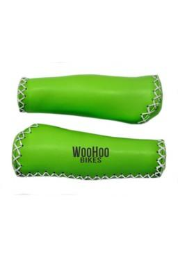 Leather Handlebar Grips, Light Green - for Beach Cruiser, Urban Bicycle
