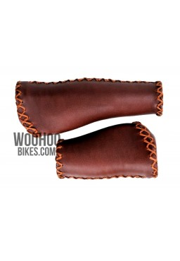 Velo Prox Bicycle Handlebar 140mm/95mm Retro Grips for Urban, Cruiser Bike - Brown