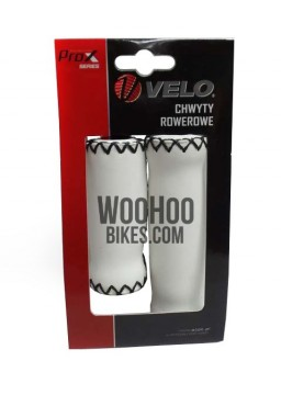Velo Prox Bicycle Handlebar 127mm/92mm Retro Grips for Urban, Cruiser Bike - White & Black