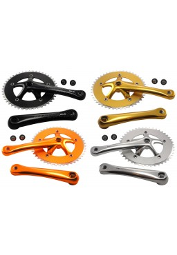 PROWHEEL SOLID 46T Crank Set Adonized Orange Gold, Singlespeed Fixed Gear Track Fixie Single Chainset