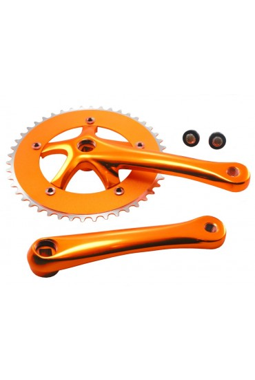 PROWHEEL SOLID 46T Crank Set Adonized Gold, Singlespeed Fixed Gear Track Fixie Single Chainset