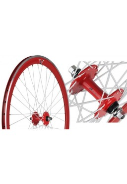 JOYTECH 50mm Front Wheel, Fixed Gear, Red Rim, White Spokes
