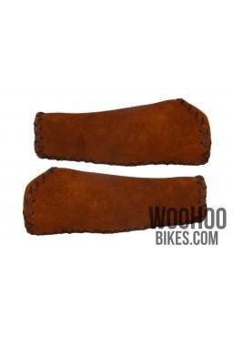 Chamois Leather Handlebar Grips, Brown - Beach Cruiser, Urban Bicycle