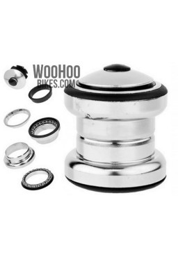 "NECO H852 1-1/8"" Steel Headset, 28.6 x 34 x 30mm, Silver"