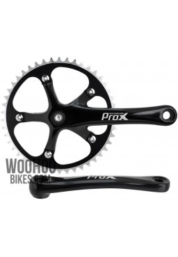 Crank Set PROX, Track Bike, Fixie, Single Speed 1/8'' - 46T Black