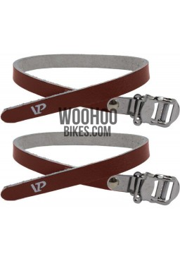 VP-715 Toe Clip Synthetic Leather Pedal Straps Brown